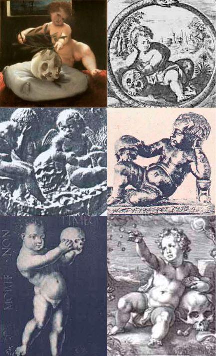 """esempi di """"putto con teschio"""" nella iconografia rinascimentale"""